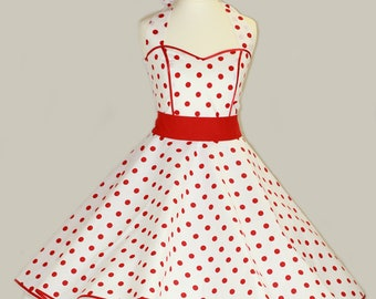 50's vintage dress full skirt white red polka dots dress Tailor Made after your measurements