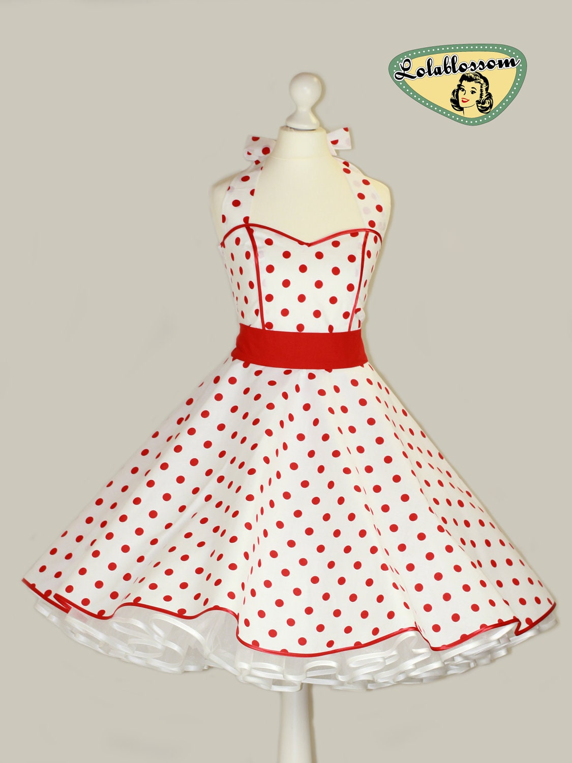 Vintage white dress ith red polka dots