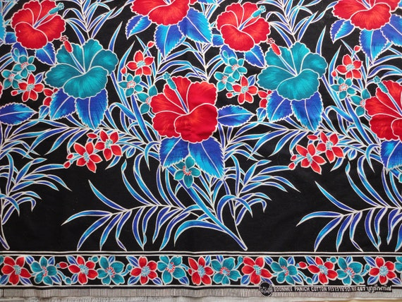 SALE :) boonmee panich tropical floral border print cotton fabric -- 42 wide by 1 2/3 yards