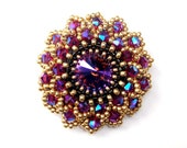 Brooch, Swarovski, Beaded Brooch, Pink Purple Crystals, Statement Brooch Pin