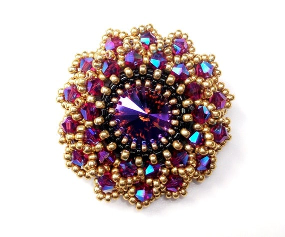 Brooch Swarovski Beaded Pink Purple Crystal Statement Brooch Pin Handbeaded