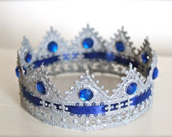 Majestic Blue and Sliver - Handcrafted Boy or Girl Lace Crown - Perfect Newborn Photo Prop
