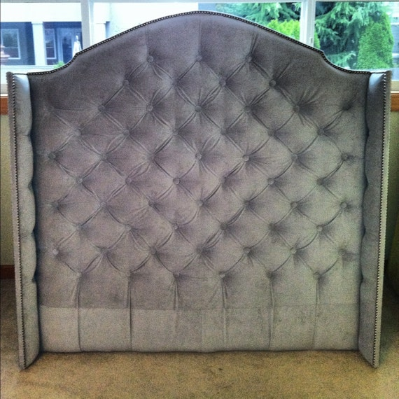 Diamond Tufted Velvet Wingback Headboard Full Tall
