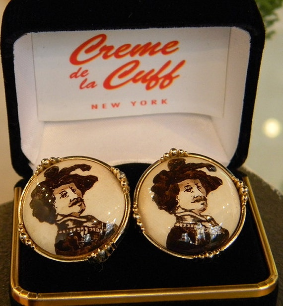 Vintage Swank Arts of the World Shakespeare/Handsome Cavalier Cufflinks