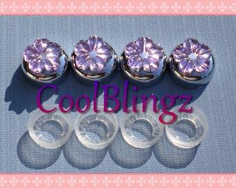 Lavender LT. PURPLE FLOWER Rhinestone Screw Caps Covers for Crystal Bling License Plate Frame