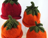 Pumpkin Hats and Apple Hats for Autumn, Halloween, and Winter for Infants, Child, Toddler, Adult