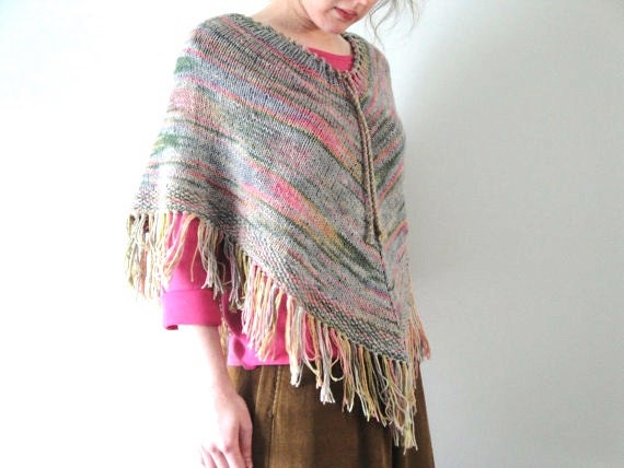 Hand Knit Poncho Cape Womens Teens Earthy Colors Natural Fiber Fringe Knitted Capelet Shawl Ruana Western Southwestern