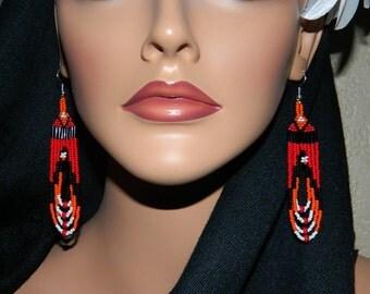 "Native American ""FireHeart"" Loop Earrings"