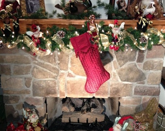 Red Quilted Stocking Accented with Mark Roberts Fairy