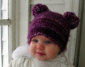 Fall baby hat Purple Love Baby Hat newborn- 6 months ready made purple and white great for Fall autumn