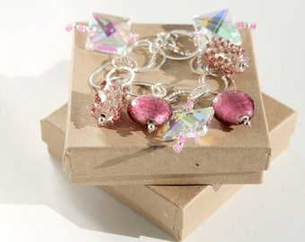 Pink Bracelet, Sterling Silver Chain Bracelet Pink Lampwork & Square Glass Beads Bling Bracelet