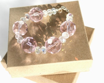 Pink and Crystal Beaded Bracelet with Sterling Silver Clasp