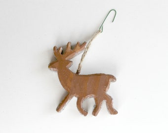 Reindeer Christmas Ornament, Hand-Painted Reindeer, Holiday Display