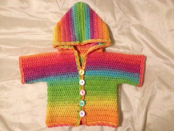 Crochet Rainbow Cardigan Sweater - 3-6 Months