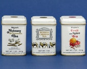 3 miniature tea tins