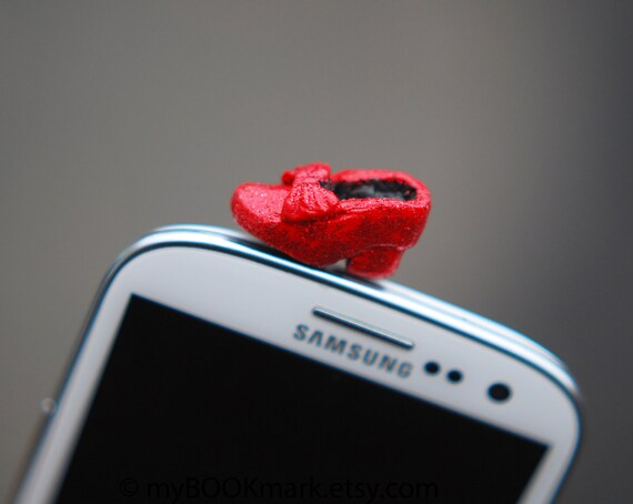 Dorothy shoe cell phone accessory. Ruby red slipper dustplug. Miniature Fits iPhone 5 4 4s ,iPad ,Samsung s2 s3, 3.5mm