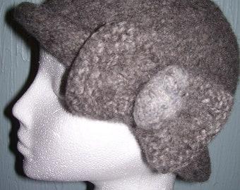 Handmade  Grey knitted  felted women hat...