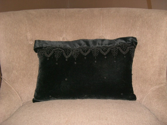 Black Beaded Throw Pillow : Dreamy Beaded Black Velvet Down-Filled Accent Pillow by ChezAmie