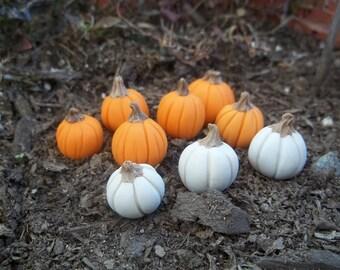 5 Fall Fairy Garden miniature pumpkins in  orange handmade OOAK