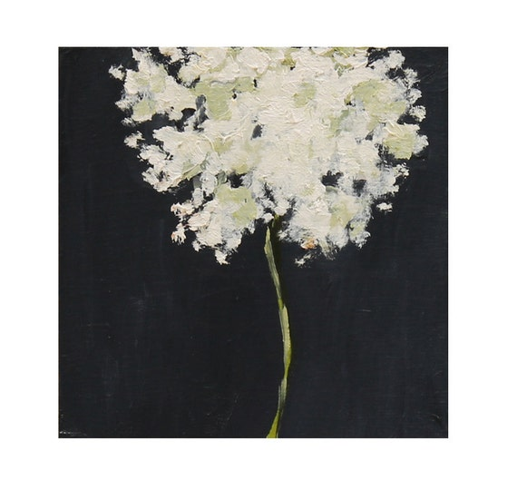 Queen Anne's Lace Still Life Painting Original oil on wood panel 6x6 wall decor black and white  wild flower