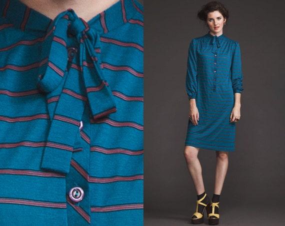 Vintage 70s PREPPY Striped Dress // Tie Collar Neck // Button Down // Chevron // XS S M // paper thin t shirt