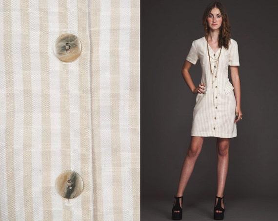 Vintage 80s 90s mini Secretary Dress//Stripes//M