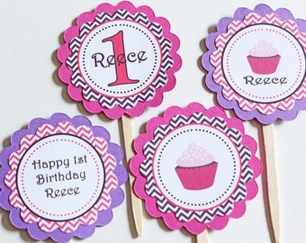Cupcake theme birthday Cupcake Toppers - Pinks and Purples
