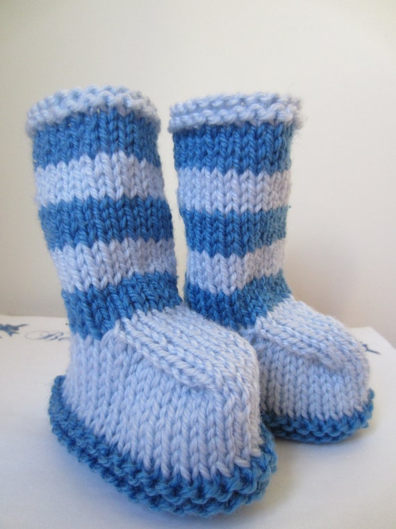 Blue Baby Booties - 0 to 6months