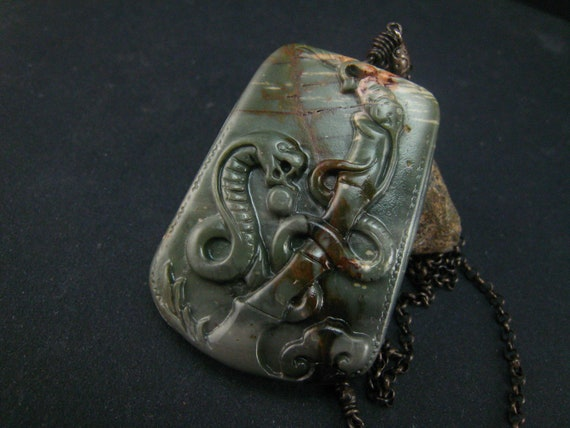 Picasso jasper snake pendant with sterling silver chain