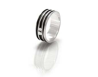 Banded Mens Ring - Mans Wedding Band - 100% Recycled Sterling Silver - Eco Friendly Mens Fashion - Striped Mens Ring Size 9.5