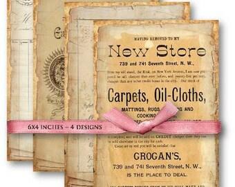 Digital Images - Digital Collage Sheet Download - Vintage Ephemera Papers -  502  - Digital Paper - Instant Download Printables