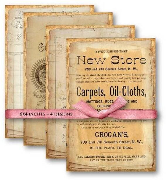 Digital Collage Sheet Download - Vintage Ephemera Papers -  502  - Digital Paper - Instant Download Printables