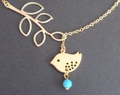 Sale - Leaf Branch and Little Bird and Turquoise Gold necklace- Bridesmaid,Wife, Girlfriend, Mothers Gift Idea