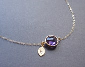 Personalized Initial Leaf, Amethyst Bezel Necklace - with 14k gold filled chain