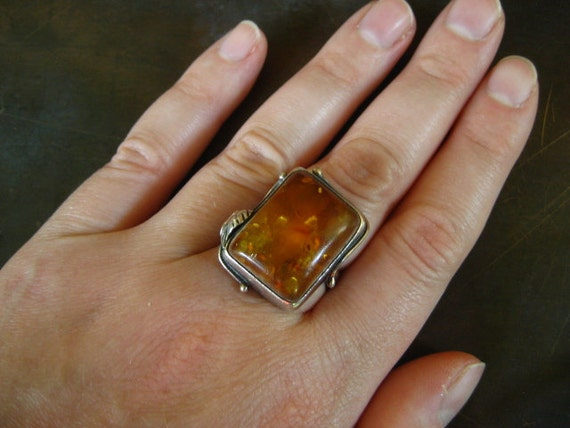 CHRISTMAS HOLIDAY SALE Large heavy solid sterling baltic amber rectangular ring with leaf accent size 8