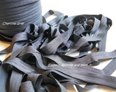 """Charcoal Gray 5/8"""" Fold Over Elastic  10 Yards"""