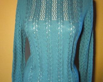 Women's Turquoise Knit Sweater Size Small