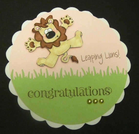 Leaping Lions, Handmade Greeting Card, Congratulations, baby