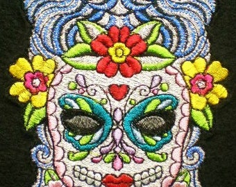 Extra Large Sugar Skull Day of the Dead Embroidered Applique Patch, Mexican, Bikers, Gothic Patch