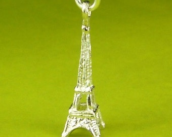 Sterling Silver Eiffel Tower Necklace, Eiffel Tower Jewelry, French Necklace, French Jewelry, Eiffel Tower Pendant, Eiffel Tower Charm