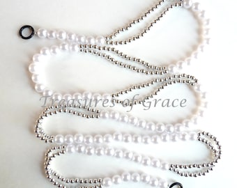 Beaded Garland Swag Handmade Wedding White Silver Beads Holiday Garland from TreasuresOfGrace