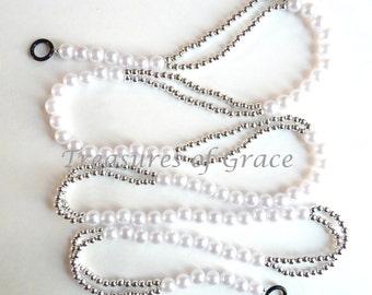 Beaded Garland Swag Handmade Wedding White Silver Beads Holiday Garland