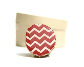 Cranberry Chevron ring. Wood Statement Ring. Chevron Statement Ring. Red Statement Ring. Adjustable ring. geometric jewelry eco friendly
