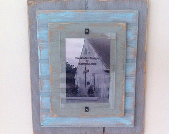 5 x 7 Distressed Handmade Picture Frame - Grey, Blue & Slate Green
