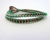 Ball chain friendship wrap bracelet / brown / emerald kelly green / silver / Pantone color of 2013