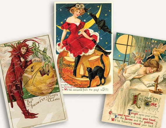 aceo VINTAGE HALLOWEEN POSTCARDS witches pumpkins cats moons devils for tags invitations 2.5x3.5in MagentaBelle printable download no. 2