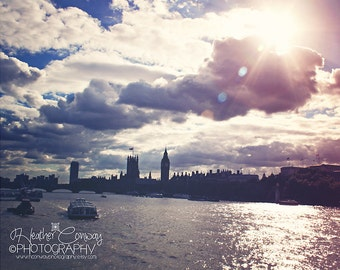 London Photograph, Big Ben Photo, Pastel Pearl effect, Sun Flare Silhouette of Big Ben London - signed 8x10 print Fine Art Photography