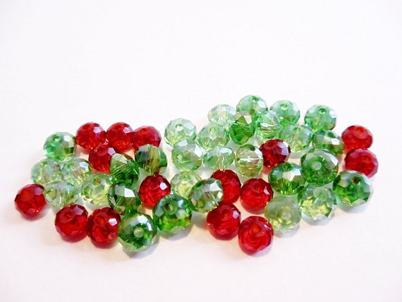 SALE Glass Beads AB Crystal Rondelle Green and Red Mix 45