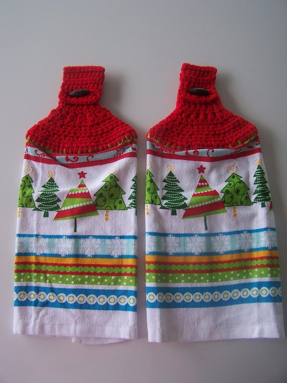 Christmas Tree Hanging Kitchen Towels-Set of 2, Crochet Top Towels, Hanging Kitchen Towels, Christmas Decor, Home Decor, Gift Basket