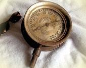 """Antique Pressure Gauge HUGE 6"""" Brass n' Metal Dial, 4 lb. Industrial Boiler gauge, Star Mfg. Co. Lowell, Mass. 1889, ULTIMATE Steampunk"""